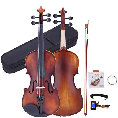 Glarry 1/8 Retro Matte Acoustic Violin Fiddle+ Case+ Bow+ Tuner High Quality