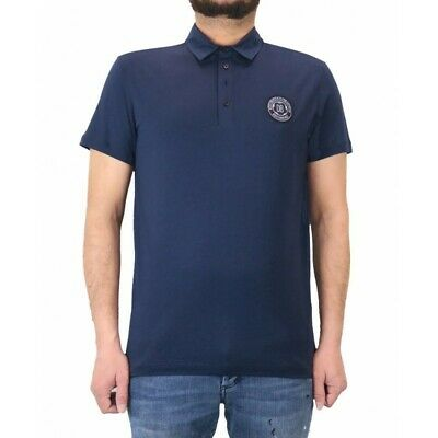 Short sleeve polo shirt for men Dirk Bikkembergs navy blue with embroidered logo