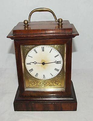 Antique Rosewood Campaign Carriage Clock Style Mantel Bracket Timepiece Clock