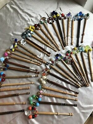 Vintage 40 wooden lace making pretty Beaded Bobbins some Decorated