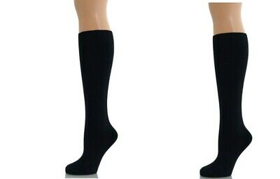Pair 1 x Womens Ladies Boys Girls Knee High Cotton Socks School Uniform BLACK4/7