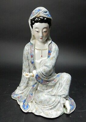 Antique Chinese Famille Verte Guan Yin Statue 19th century 10 inches