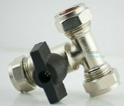 15mm Isolating Tee Valve Lever Handle On/Off Service Valve Compression 1/4 Turn