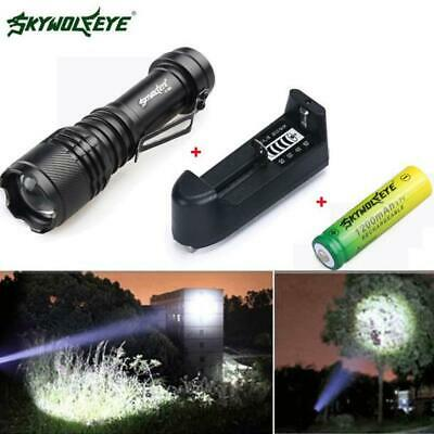 Zoomable Q5 80000LM Mini LED Flashlight Focus Torch Light+14500 Battery+Charger