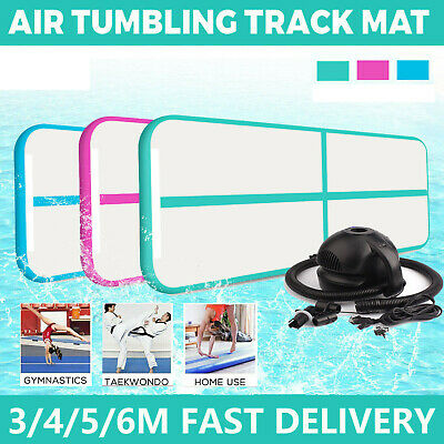 3/4/5/6m Inflatable Air Track Home Gymnastic Tumbling Mat GYM Yoga Floor w/ Pump