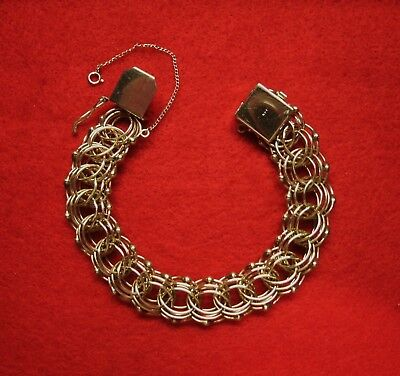 LARGE and HEAVY VINTAGE LADIES 14K YELLOW GOLD CHARM BRACELET ~ WONDERFUL COND.