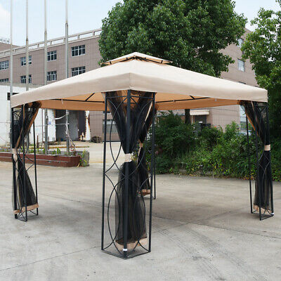 3m x3m Steel Art Gazebo Awning Canopy Marquee Party Tent With Side Curtains UK