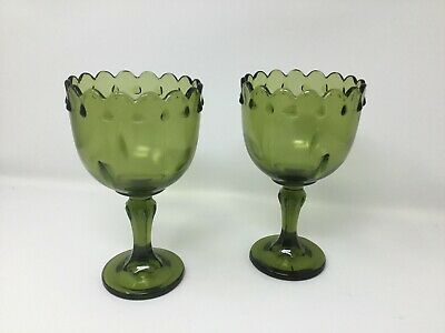 Vintage Indiana Green Glass Teardrop Compote Pedestal Dish