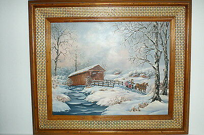 Vintage Covered Bridge And Sleigh Ride Oil Painting Artist Signed