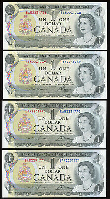 Lot of 4 Consecutive 1973 Bank of Canada $1 Notes - Transitional EAN Prefix