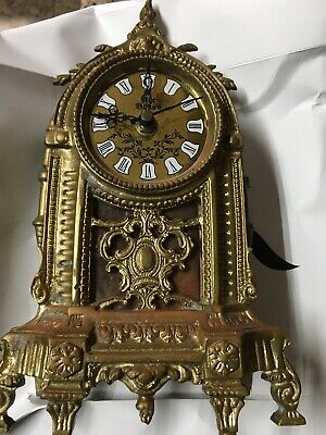 """Vintage Art Deco Solid Brass/ Patina Bronze Clock (12"""") Gothic( Collectible)"""