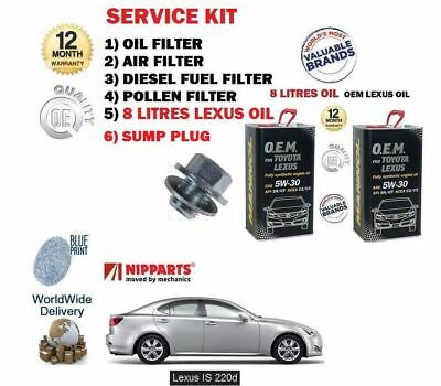Pour Lexus IS220D 2.2DT 2005- > Huile Carburant Air Pollen Filtre Set + 8 +