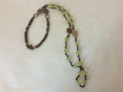 LUCKY BRAND Brown Wood  and Leather green plastic beads Necklace