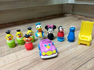 Vintage Fisher Price Little People Figures Minnie Mouse Royal Sesame Street Car