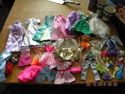 Lot Of Vintage To Modern Barbie Doll Clothes - Some Shoes And Accessories