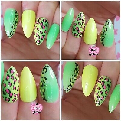 NEW!Summer NEON Nails Animal Nail Art Bright Holiday x 20 Press on Nails