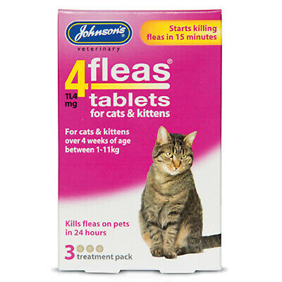 Johnson's Veterinary 4Fleas Tablets For Cats & Kittens - 3 Tablets - Jve0275