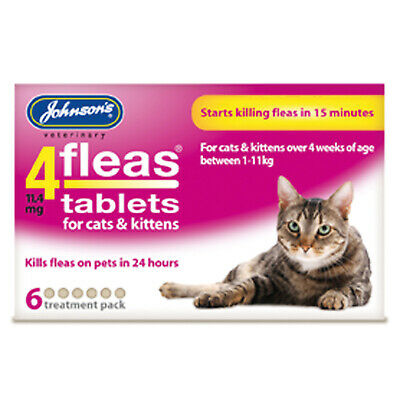 Johnson's Veterinary 4Fleas Tablets For Cats & Kittens - 6 Tablets - Jve0260