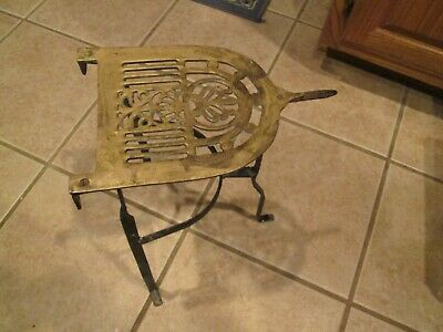 ANTIQUE ENGLISH BRASS/CAST IRON FIREPLACE PLATE WARMER OR PLANT STAND reduced