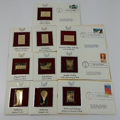 10 First Day Of Issue 22k Replica Stamps Gold United States Stamps 80's - Lot #2