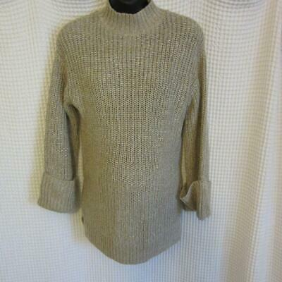 Isabel Maternity Beige & Silver Chunky Knit Pullover Sweater NEW!