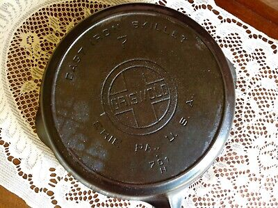 Antique Griswold Cast Iron Skillet No 7 Iron Frying Pan Heat Ring LARGE BLOCK