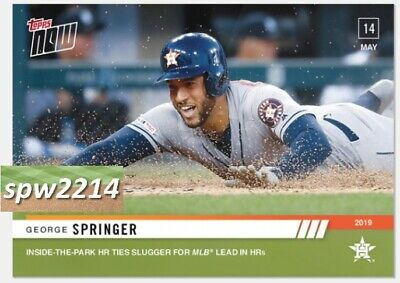 2019 Topps Now George Springer #225 Inside-the-Park HR Ties Slugger for MLB Lead