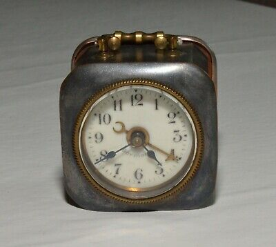 Small Travelling Brass German Clock With An Alarm - Porcelain Dial 1 7/8""
