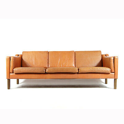 Retro Vintage Danish Tan Leather 3 Seat Seater Sofa 60s Mid Century Mogensen 70s