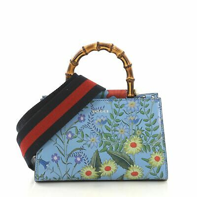 f2dd20132 GUCCI FLORAL PRINT Bamboo Handle Peggy Bag - $339.16 | PicClick