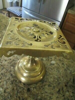 Antique Solid Brass And Cast Iron English Hearth Plate Warmer