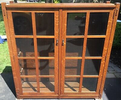 Antique Stickley Brothers Arts & Crafts Mission Oak Two Door Bookcase  # 4772