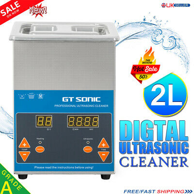 Digital Stainless Steel 2L Ultrasonic Ultra Cleaner Bath with Timer & Heater UK