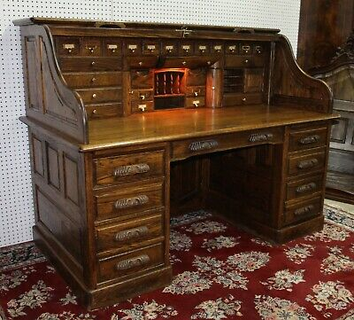 Oak Crest Roll Top Desk And Chair With Lock And Key 895