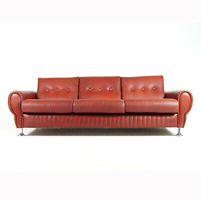Retro Vintage Danish Chrome Leather 3 Seat Seater Sofa 60s 70s Scandinavian 70s