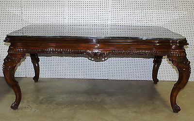 Antique Country French Carved Walnut Marble Top LouisXV Desk -Dining Table C1890