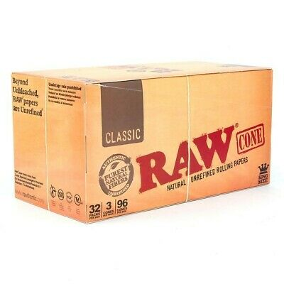 RAW Rolled Cones Rolling Papers Box KING SIZE 96 Cones *SEALED* 32 Packs