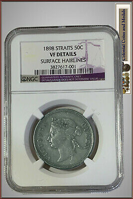 "Straits Settlements :-  50 Cents 1898.  Slabbed by N.G.C. as ""VF Details"