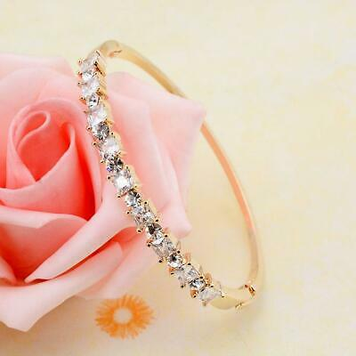 Luxury Square Cubic Zirconia Gold Filled Bangle Bracelet Women Banquet Jewelry