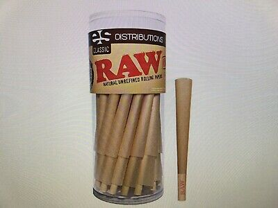 RAW Cones Classic King Size | 50 Pack | Natural Pre Rolled Rolling Paper with Ti