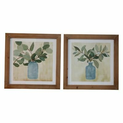 NEW OneWorld Collection Leaves in Vase Framed Art Print (Set of 2)