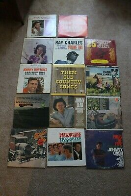 amazing lot of 18 vintage country records, vinyl, carter family, johnny cash,