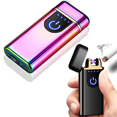 Dual Arc Electric Cigarette Lighter USB Rechargeable Flameless Windproof gold