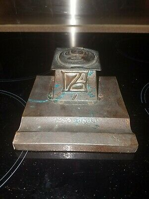 Antique Arts & Crafts Hand Hammered Copper Inkwell.by J.F Pool 1910