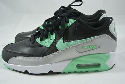 quality design f0d3f 97445 New Nike Air Max 90 LTR GS Youth Kids Shoes Sneakers Leather Black Green sz  6.5
