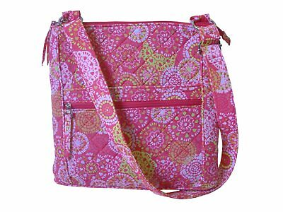 Zippered Shoulder/ Cross Body Bag Pink with Flowers