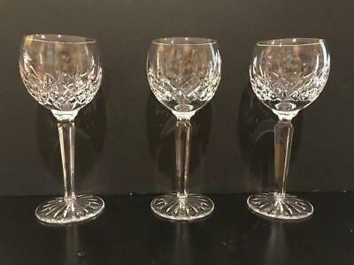 Waterford Lismore Wine Hock Crystal Goblets 7 3/8 Inches Set of 3