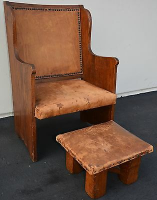 Antique Arts & Crafts Oak Childs Chair Stool Mission Craftsman by Wylie Lochhead