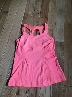 Lululemon Size 6 Hot Orange Coral Flash Light Tank Built In Bra 2 In 1