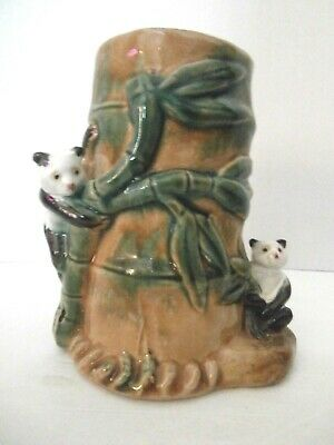 Vintage Porcelain Oriental Vase With 3D Panda's And Bamboo Design
